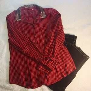 Plaid flannel button down XL sequin collar NWOT